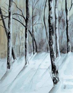 "Landscape Painting Watercolor. Title: "" Maine Winter Woods "" by Brenda Owen"