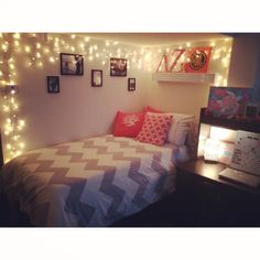 love the bedding.. and christmas lights are wonderful