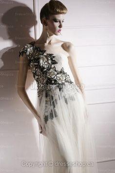 Sheath/Column One Shoulder Tulle Floor-length Ivory Appliques Evening Dress