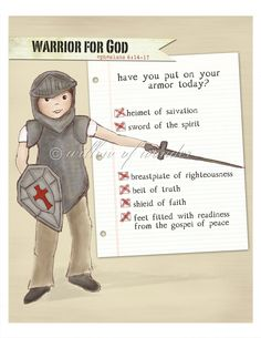 Warrior Boy - Armor of God - Ephesians 6:14-17. $18.00, via Etsy.