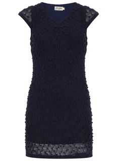 Robe en tricot et dentelle bleu marine