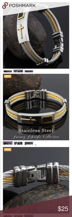 2-Tone Mens Stainless Steel Onyx Bangle Bracelet. This Gorgeous Two Tone Twisted Men's Bangle is Crafted with high Polish Stainless Steel, Nickel free, allergen free. And it comes with an ID Tag Consist of Cross and Onyx Design plated with 24K Gold. Comfort Fit Design, and It weighs about 38g Jewelry Bracelets