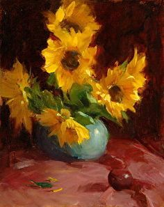 Sunflowers And Plum by Ken Cadwallader Oil ~ 20 x 16
