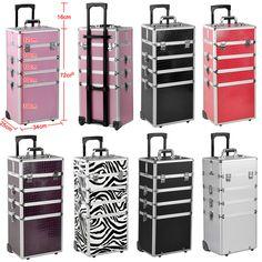 Pro 4 In 1 Beauty Nail Technician Polishing Make Up Vanity Case Trolley Box Gift