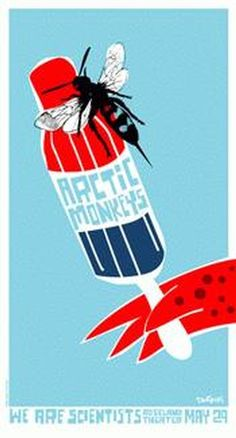 Original silkscreen concert poster for the Arctic Monkeys at the Roseland Theater, Portland OR. 15 x 28 on card stock paper. Edition of 200 signed and numbered by artist Dan Stiles.