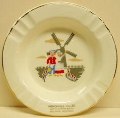Windmill Club Billings Montana Ashtray, Ceramic Souvenir Ash Tray, Tobacciana by Snowyowltreasures on Etsy