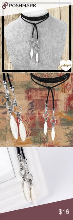 Boho southwest black leather marbled choker NWT boutique item! items come all safely packaged🎁 from my smoke 🚭free home Jewelry Necklaces