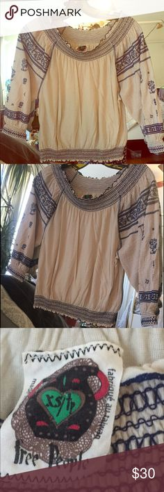 Free People Peasant Blouse Never worn. Fits like a small. Free People Tops Blouses