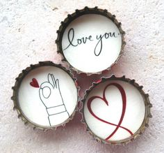 3 Heart and Romantic, Love You, Up-Cycled Bottle Cap Magnets with Red Organza… Bottle Cap Magnets, Bottle Cap Crafts, Craft Gifts, Diy Gifts, I Love You Pictures, Sorority Sugar, Bottle Top, Diy Presents, Romantic Gifts