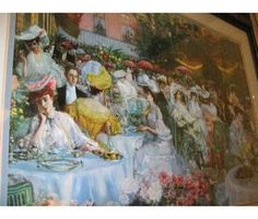 1900's tea party painting