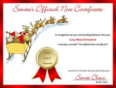 Free printable santas official nice certificate for christmas nice certificate 1 red spiritdancerdesigns Image collections