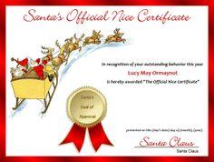 Nice Certificate #1 Red  Printable Christmas Certificates