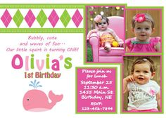 Birthday Invitation  Preppy Girl Whale by AdorableAffair on Etsy, $16.00