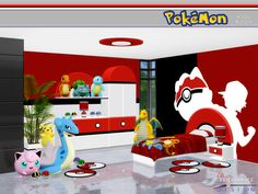 A Pokemon themed lively kid's room, which incorporates playful design and fun furnishings.  Found in TSR Category 'Sims 4 Kids Bedroom Sets'