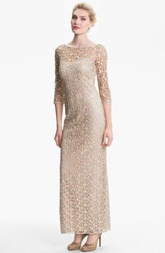 LOTS of stunning MOB dresses at Nordstrom.com Kay Unger Embellished Illusion Neck Lace Gown available at #Nordstrom #nordstromweddings