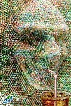 pin sculpture using straws