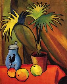 August Macke - Still Life with Palm Tree Large Canvas Print
