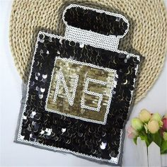 Free shipping women girl clothes black Sequins patches perfume bottle N5 logo fashion embroidery patch for clothing patchwork
