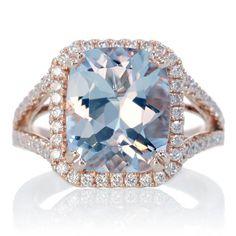 14 Karat Rose Gold 11x9 Cushion Cut Aquamarine Diamond Halo Split Shank Engagement Wedding Anniversary Right Hand Gemstone Ring. $1,500.00, via Etsy.