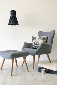 Grey Flannel Wing Back Armchair with Footstool optional (£450.00) - Svpply