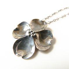 Vintage Sterling Silver Dogwood Pendant Necklace by Stuart Nye