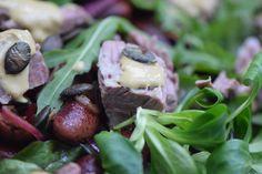 von kuechenereignisse.com  Käferbohnensalat mit zerzupftem Flank Steak