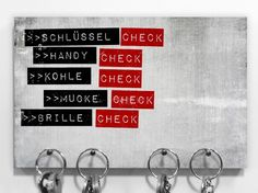 "Schlüsselbrett mit Typo ""Check"" / key board to check if you don't forget anything, typo by heyhey via DaWanda.com"