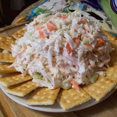 Crab Salad Recipe : 1 pound imitation crab meat, shredded (picked apart) cup celery, finely chopped cup Hidden Valley Lite ranch dressing (preferred brand) cup Hellmann's mayonnaise (preferred brand) 1 tsp parsely, minced fresh or dried 1 tbsp sugar Seafood Appetizers, Seafood Salad, Seafood Dishes, Seafood Recipes, Fish Recipes, Cooking Recipes, Shrimp And Crab Salad, Crab Pasta Salad, Crab Dishes