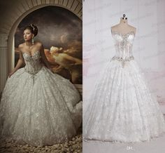 Real Image !! Lace Ball Gown Wedding Dresses Rhinestones Sweetheart Corset Royal Princess Gowns Cathedral…