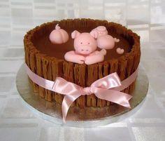 Birthday Cakes - * Pigs in mud using Cadbury flakes by veritys creative cakes