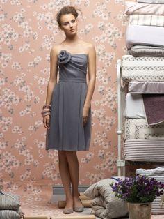 (NO.018881 )Sheath / Column Strapless Hand-Made Flower Sleeveless Knee-length  Chiffon Light Slate Gray Bridesmaid Dress / Cocktail Dress / Homecoming Dress
