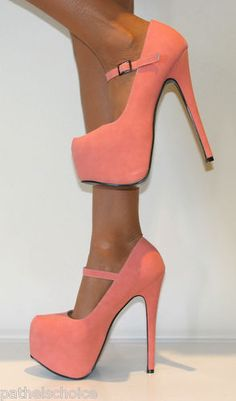 LADIES CORAL MARY JANE STRAPPY PLATFORM STILETTO HIGH HEELS COURT SHOES PROM