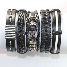5 il lavoro a mano in pelle bracciale Set in di BraceletStreetUSA