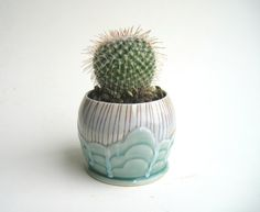 Cloudy Rain Wheel Thrown Succulent Planter Flower Pot Teal and Red