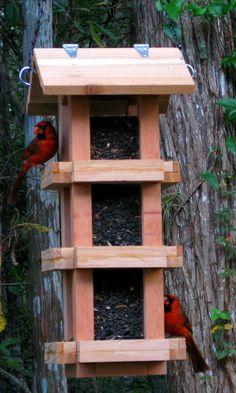 Decorative cedar wood cardinal bird feeder - handmade in the USA - bird seed feeder attracts cardinals, finches, blue jays, chickadees,