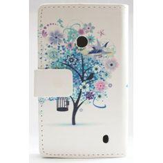 Lumia 520 sininen puu lompakkokotelo. Nokia Lumia 520