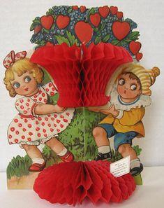 """Children with """"Heart"""" Bush Vintage Honeycomb Valentine"""