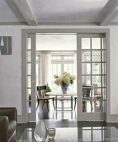 Paned-glass Pocket Doors What's more convenient than doors that disappear when . Black Interior Doors, Door Design Interior, Home Interior, Window Design, Shabby Chic Living Room, Home Living Room, Living Room Designs, Glass Pocket Doors, Glass Doors