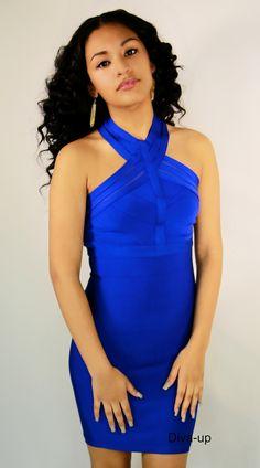 Royal Blue bandage dress.