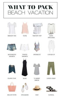 A minimalist's guide for what to pack for a beach vacation. Beach Vacation Tips + Ideas Beach Vacation Tips, Vacation Wear, Beach Vacations, What To Pack For Vacation, Tropical Vacations, Beach Hotels, Beach Resorts, Travel Wardrobe, Capsule Wardrobe