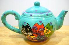 Laurel Burch Cats Colorful Tea Pot Teapot (1998)