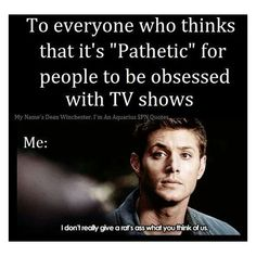 """my older brother and I got bored and took the """"which SPN character are you"""" he got Dean and I got Sam then he took the """"Who is you SPN boyfriend"""" and got Cas (. Supernatural Imagines, Supernatural Tv Show, Supernatural Funny Quotes, Supernatural Playlist, Fandom Memes, That Moment When, Superwholock, Jensen Ackles, Fangirl"""