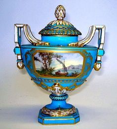 A French Sevrès style twin handled pot pourri vase  Late 19th Century