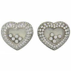 New Chopard Floating 3.71ctw Diamond Heart 18k Gold Earrings