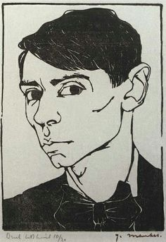 Jan Mankes (1889-1920) - Self Portrait (1913). Woodcut. http://hundred-million-light-years.blogspot.co.uk/2009/09/jmankes.html Tags: Linocut, Cut, Print, Linoleum, Lino, Carving, Block, Woodcut, Helen Elstone, Man, Portait, Dutch, Face.