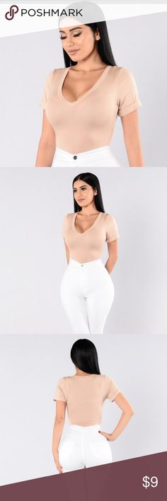 Fashion Nova Favorite Tee Bodysuit-NUDE-NEW-Size M Favorite Tee Bodysuit-NUDE NEW w/o Tags V Neckline Cuffed Sleeves Cheeky Bottom 2 Snap Closure Made in USA Final Sale  95% Rayon, 5% Spandex Fashion Nova Other