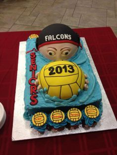 Falcons water polo team cake Fondant, Waterpolo, Pool Cake, Swimming Party Ideas, Cake Shapes, Swimming Diving, Swim Team, Coach Gifts, Cakes For Boys