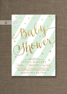 mint and gold shower | Mint Green & Gold Baby Shower Invitation Gold Glitter Pastel Green ...
