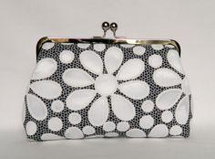 Floral Daisy Clutch Purse, Bridal clutch purse, Bridesmaids Clutch,Wedding Clutch Purse, Evening Clutch Purse, Monochrome Clutch by TheHeartLabel on Etsy