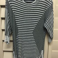 Ladies shirt Medium sleeve length with flattering stripes directing eyes toward a slim waist  Dana Buchman  Tops